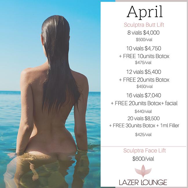 Sculptra April Lazer Lounge Specials